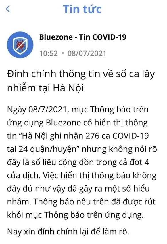 Bluezone đính chính thông tin về số ca lây nhiễm tại Hà Nội
