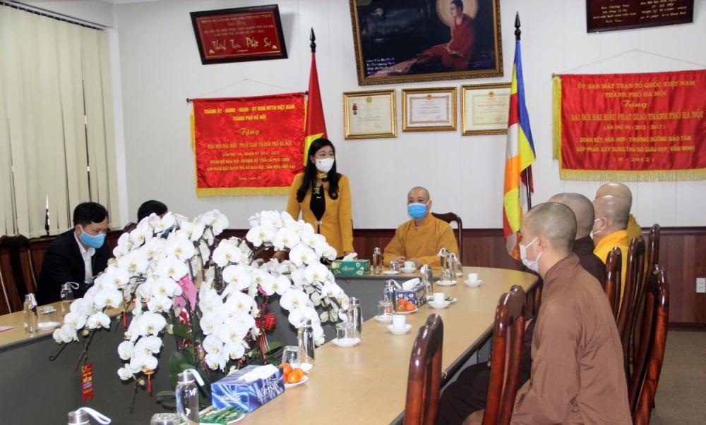 Chủ tịch Ủy ban Mặt trận Tổ quốc Việt Nam thành phố thăm, chúc Tết Giáo hội Phật giáo Hà Nội