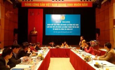 Đoàn Chủ tịch Tổng LĐLĐVN làm việc với LĐLĐ TP Hà Nội