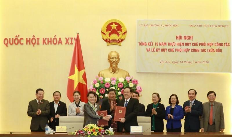 Nâng cao hiệu quả phối hợp giữa Ủy ban Thường vụ Quốc hội và Mặt trận