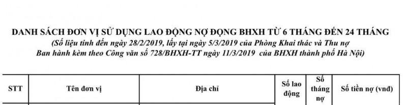 ha noi danh sach cac doanh nghiep no tien bhxh bhyt cua nguoi lao dong 88639