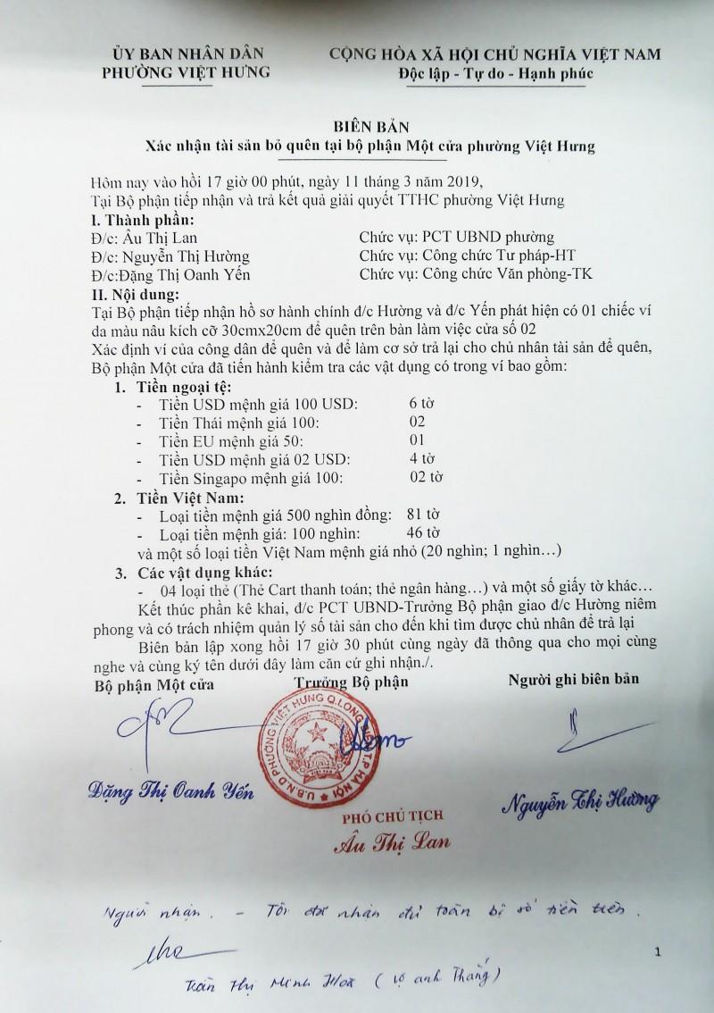 bo phan mot cua phuong viet hung tra lai gan 70 trieu dong cho cong dan