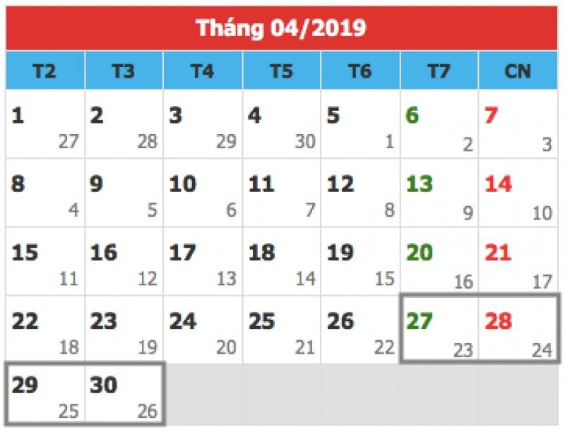 Dịp lễ 30/4, 1/5/2019: Công chức, viên chức sẽ nghỉ 5 ngày?