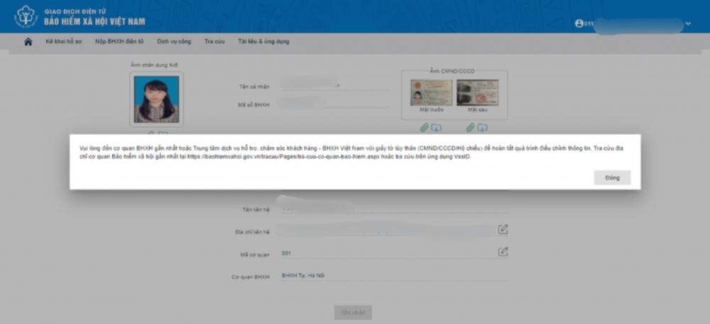 Có thể thay đổi thông tin cá nhân trên ứng dụng VssID đã đăng ký?