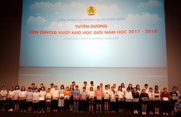 LĐLĐ quận Long Biên tuyên dương con CNVCLĐ vượt khó, học giỏi