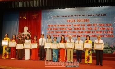 Quận Long Biên tôn vinh 295 gương 'Người tốt việc tốt' năm 2018
