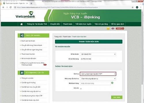Vietcombank miễn phí thanh toán hóa đơn cước viễn thông VNPT