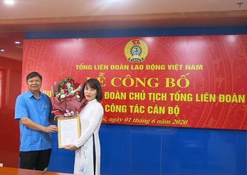Tổng Liên đoàn Lao động Việt Nam trao quyết định bổ nhiệm lãnh đạo Ban Tài chính