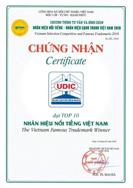 Tổng Công ty UDIC lần thứ ba lọt Top 10 Nhãn hiệu nổi tiếng Việt Nam