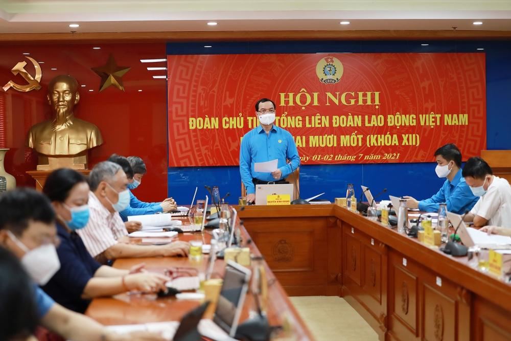 Khai mạc Hội nghị Đoàn Chủ tịch Tổng Liên đoàn Lao động Việt Nam lần thứ 21 Khóa XII