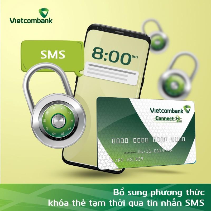 Vietcombank bổ sung phương thức khóa thẻ tạm thời qua tin nhắn SMS