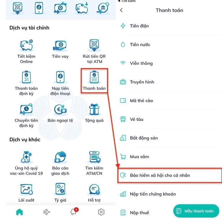Hướng dẫn đóng tiếp BHXH tự nguyện, gia hạn thẻ BHYT qua ứng dụng trực tuyến của ngân hàng