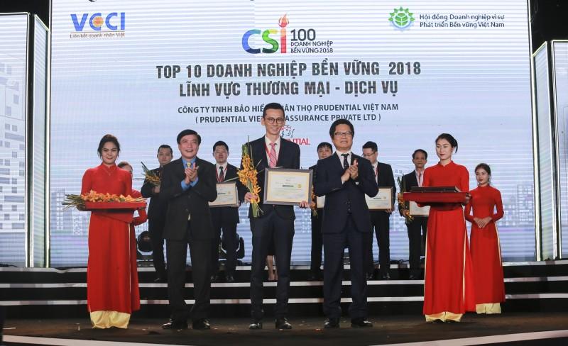 Prudential được vinh danh trong Top 10 'Doanh nghiệp bền vững tại Việt Nam'