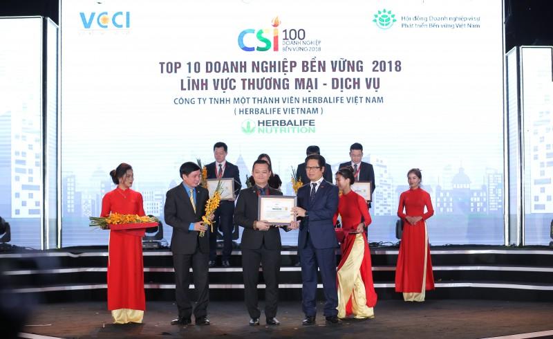 Herbalife lọt vào Top 10 doanh nghiệp bền vững lĩnh vực thương mại dịch vụ