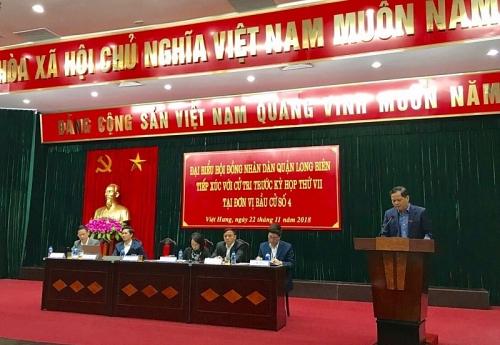 Hội đồng nhân dân quận Long Biên tiếp xúc cử tri tại 8 đơn vị bầu cử