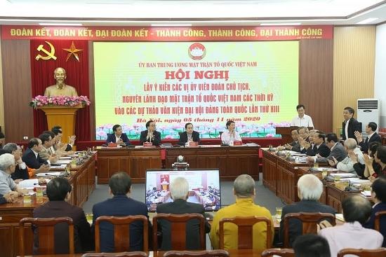 Lãnh đạo, nguyên lãnh đạo Mặt trận Tổ quốc Việt Nam đóng góp vào các dự thảo văn kiện Đại hội Đảng