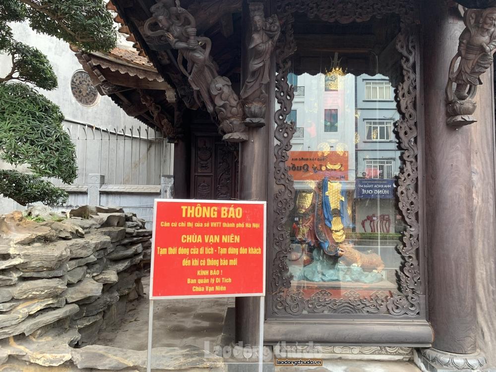"""Đền, chùa quanh Hồ Tây """"cửa đóng then cài"""" để phòng, chống dịch"""