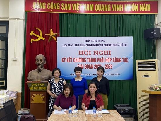 Liên đoàn Lao động quận Hai Bà Trưng: Ký kết chương trình phối hợp công tác
