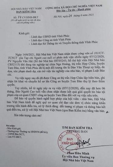 Hội Nhà báo Việt Nam đề nghị xử lý vụ việc đe dọa, cản trở phóng viên tác nghiệp