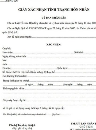 Từ 16/7, trên giấy xác nhận tình trạng hôn nhân phải ghi tên người dự định kết hôn