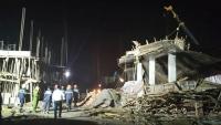 Giàn giáo đổ sập trong lúc đổ bê tông, nhiều người bị thương
