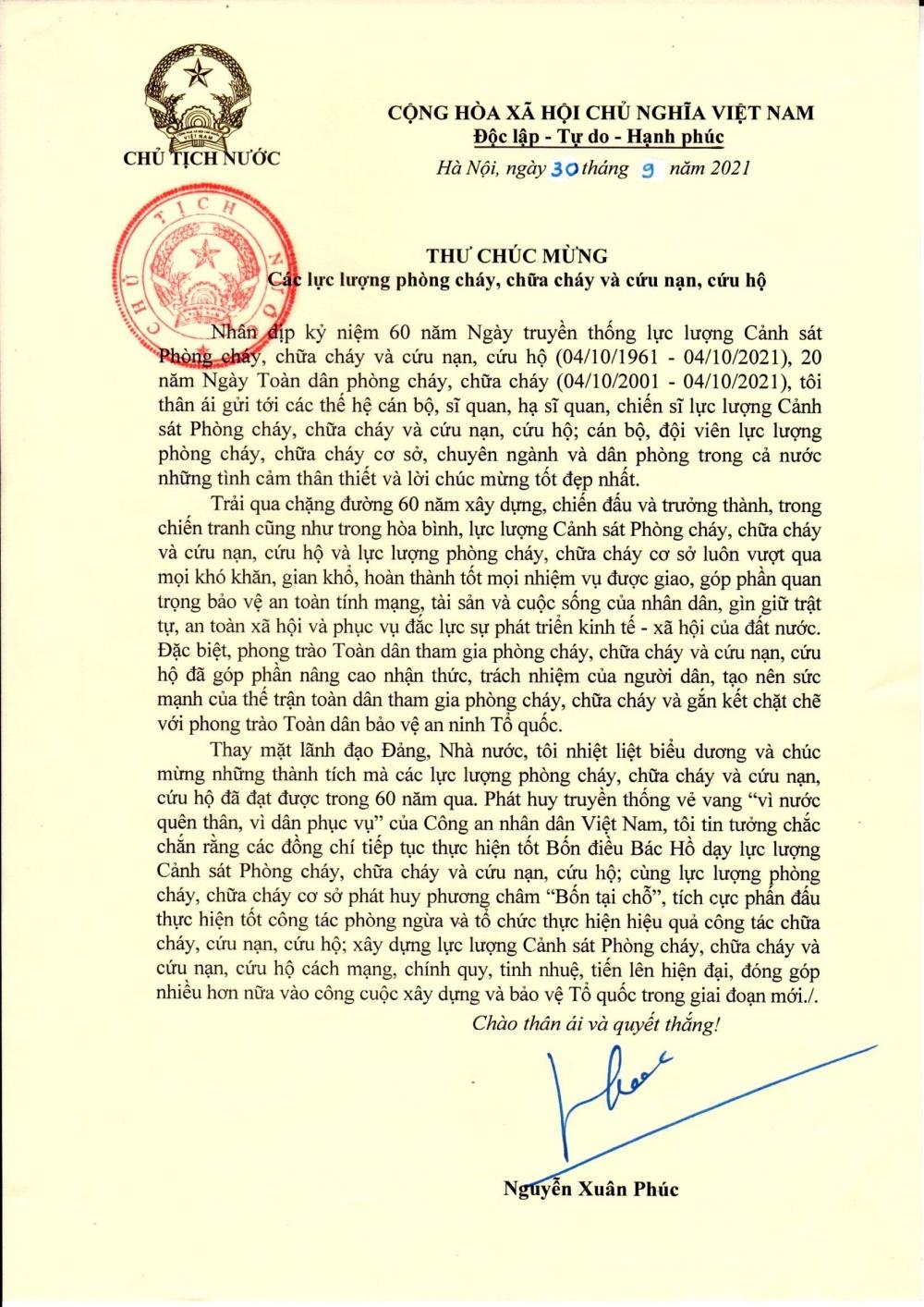 Chủ tịch nước gửi thư chúc mừng các lực lượng phòng cháy, chữa cháy và cứu nạn, cứu hộ