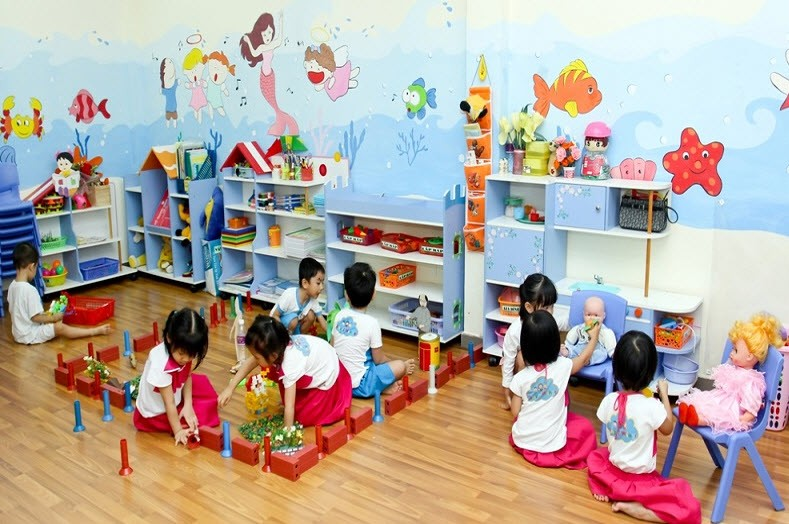 Trường mầm non ở thành phố phải có diện tích tối thiểu 8m2/trẻ