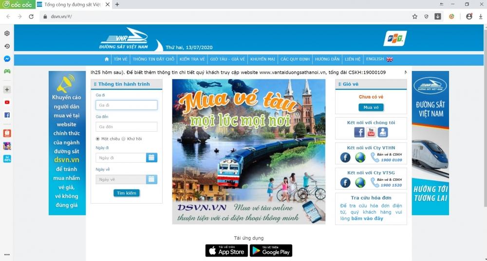 Từ 15/7: Hành khách có thể mua và thanh toán vé tàu trên điện thoại