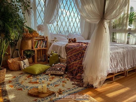 Căn phòng ngập nắng và gió của cô gái yêu thích phong cách bohemian