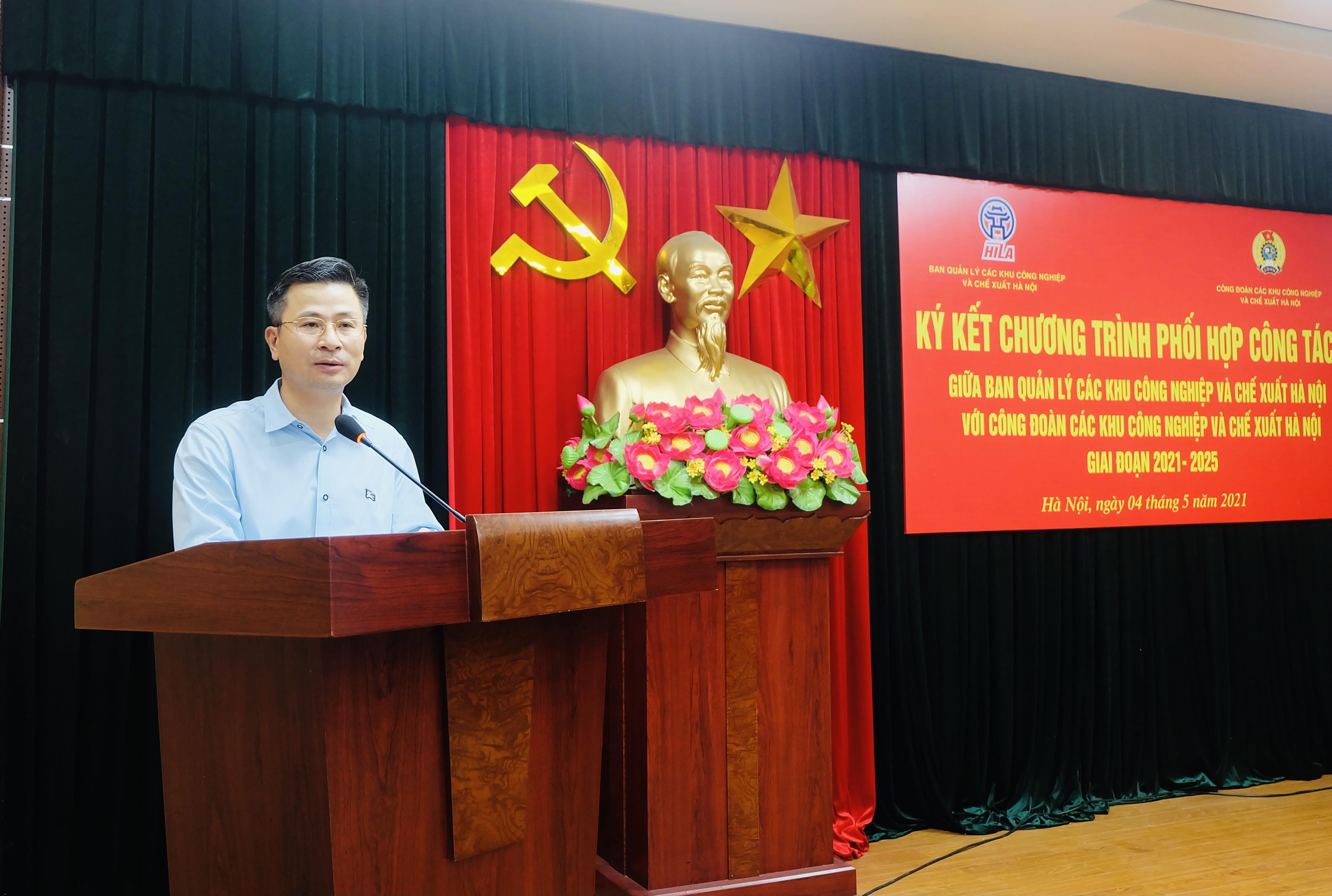 Ban Quản lý và Công đoàn các Khu công nghiệp và chế xuất Hà Nội ký kết chương trình phối hợp công tác