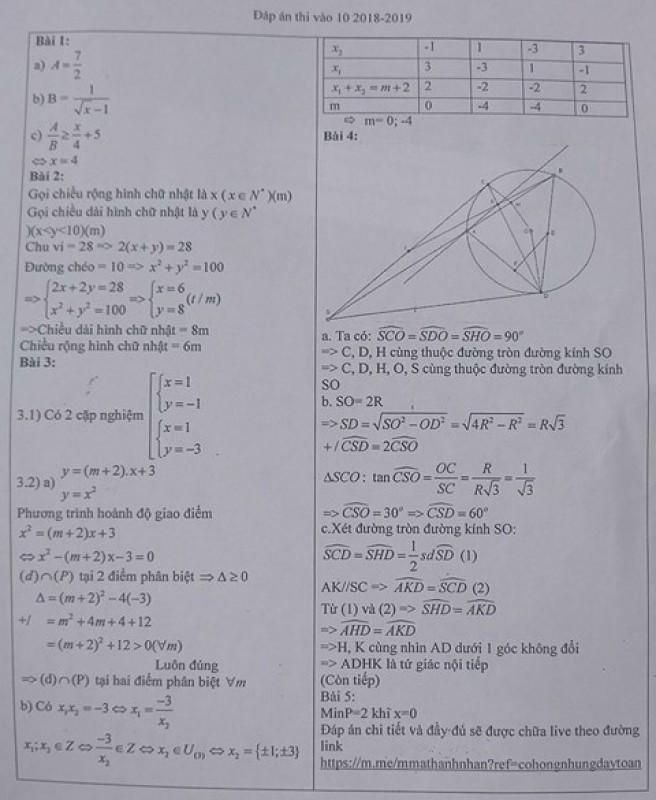 Gợi ý đáp án môn Toán tuyển sinh lớp 10 tại Hà Nội năm học 2018-2019