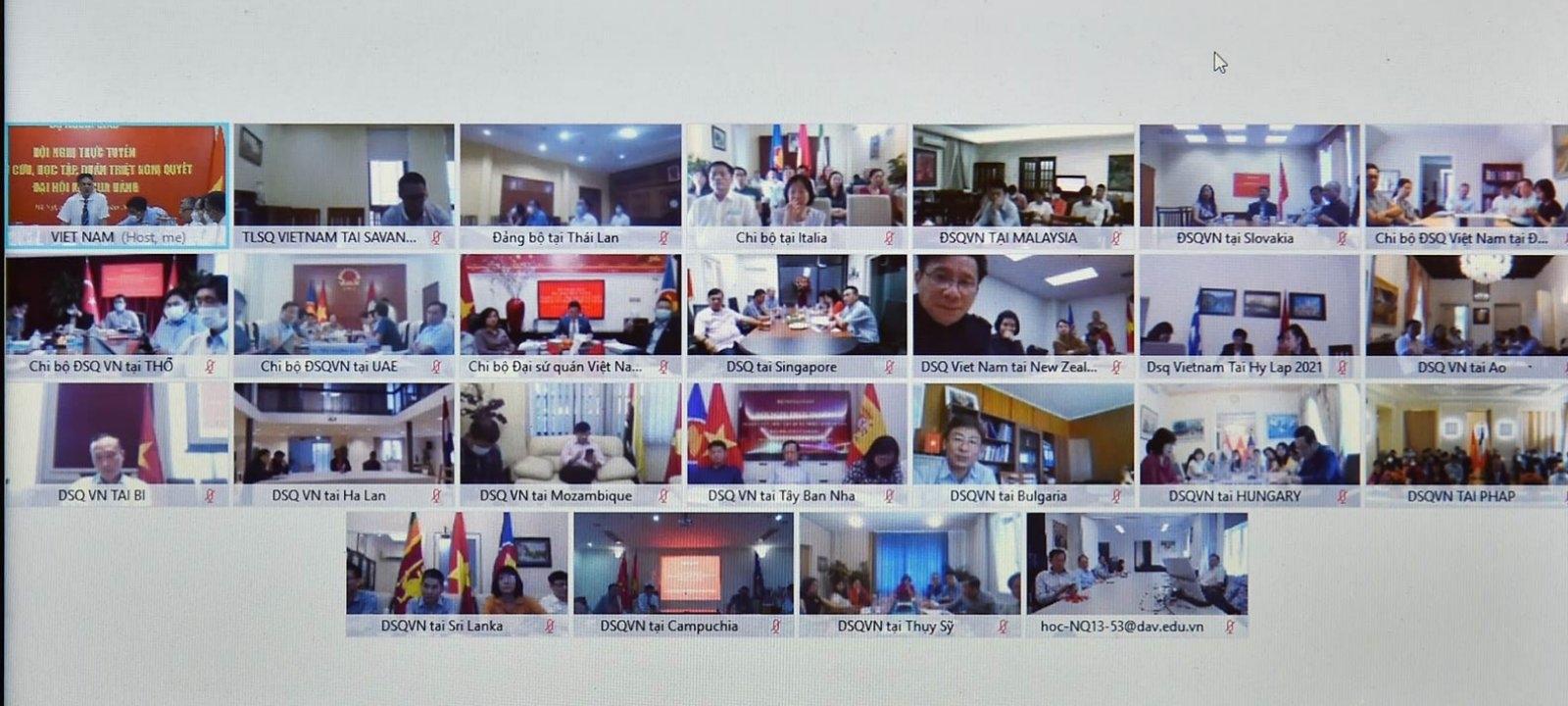 Học tập, quán triệt Nghị quyết Đại hội XIII của Đảng đến các cơ quan đại diện Việt Nam ở nước ngoài