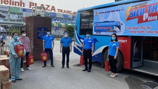"""""""Xe buýt siêu thị 0 đồng"""" mang hơn 800 suất quà đến với người lao động tại huyện Mê Linh và ngành Xây dựng Hà Nội"""