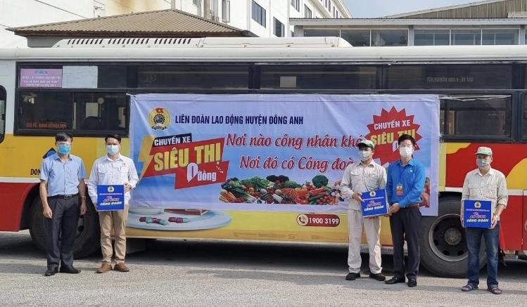 """LĐLĐ huyện Đông Anh tiếp tục triển khai """"Chuyến xe siêu thị 0 đồng"""" để hỗ trợ người lao động"""