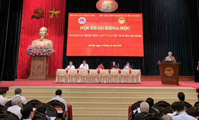 """Hội thảo khoa học 70 năm tác phẩm """"Dân vận"""" của Chủ tịch Hồ Chí Minh"""