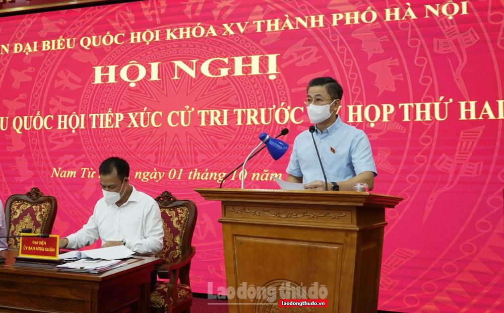Đoàn Đại biểu Quốc hội khóa XV thành phố Hà Nội tiếp xúc cử tri tại đơn vị bầu cử số 3