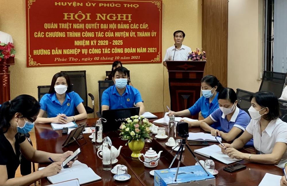 LĐLĐ huyện Phúc Thọ tổ chức Hội nghị trực tuyến hướng dẫn nghiệp vụ công tác Công đoàn năm 2021