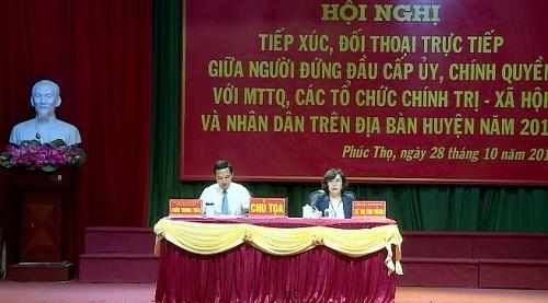 Người đứng đầu cấp ủy, chính quyền huyện Phúc Thọ đối thoại với nhân dân