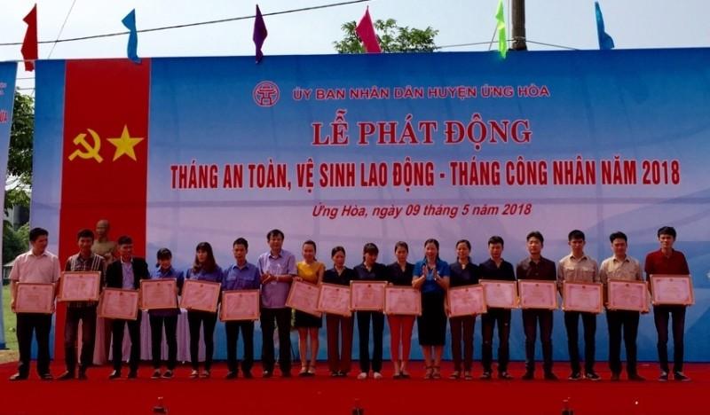 LĐLĐ huyện Ứng Hòa: Phát động tháng công nhân – tháng ATVSLĐ năm 2018