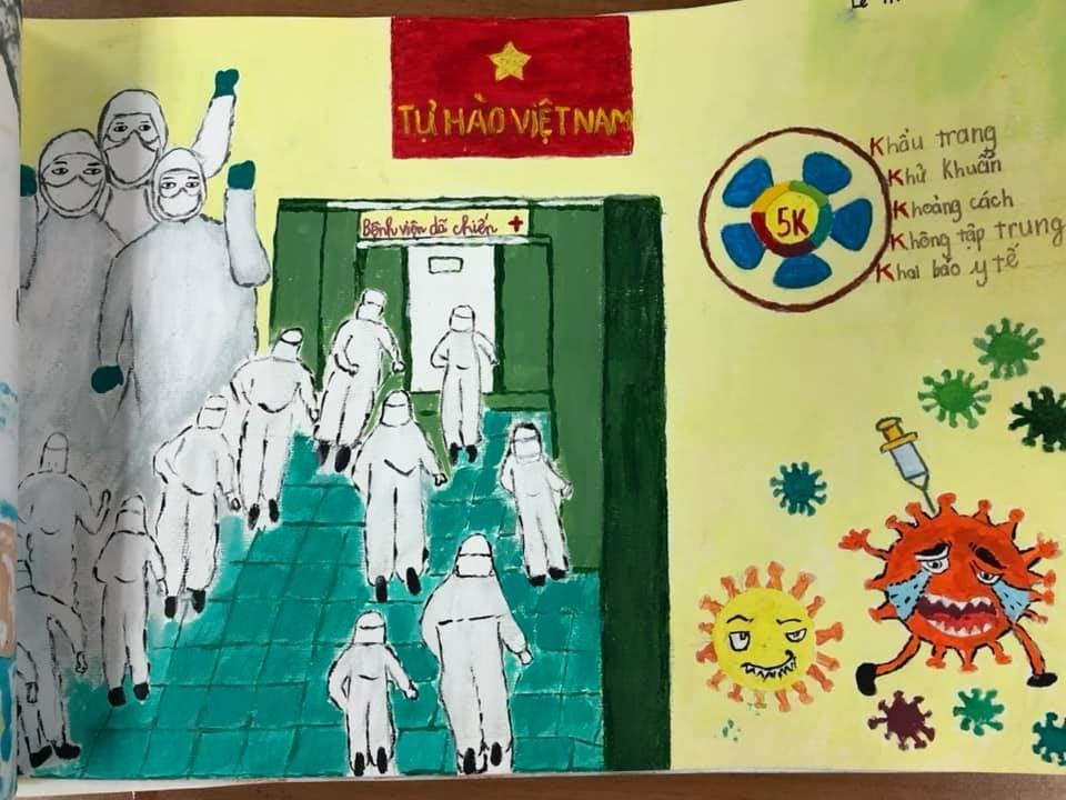"""Xúc động những bức """"tâm thư"""" của các em học sinh gửi tặng cán bộ CDC Hà Nội"""