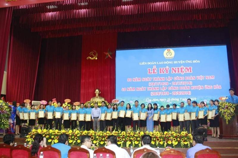 LĐLĐ huyện Ứng Hoà: Tổ chức Lễ kỷ niệm 90 năm ngày thành lập Công đoàn Việt Nam