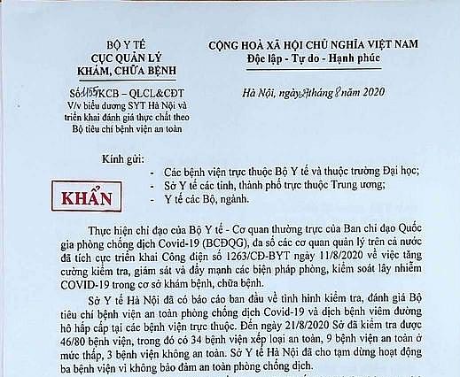 Bộ Y tế biểu dương Hà Nội tạm dừng hoạt động 3 bệnh viện không an toàn