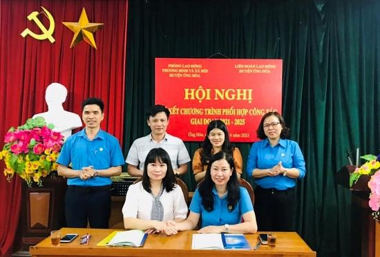 Ký kết chương trình phối hợp với Phòng Lao động Thương binh và Xã hội
