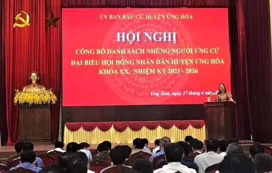 Huyện Ứng Hòa công bố danh sách 59 người ứng cử đại biểu Hội đồng nhân dân