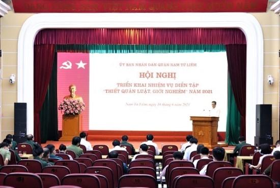 """Quận Nam Từ Liêm: Triển khai kế hoạch diễn tập """"Thiết quân luật, giới nghiêm"""" năm 2021"""