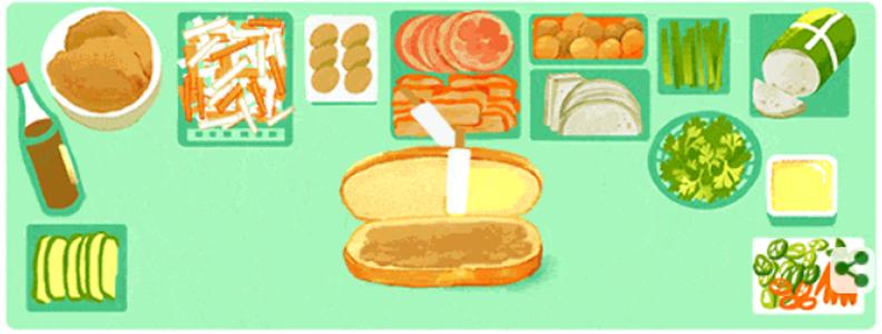 Google Doodle tôn vinh bánh mì Việt Nam
