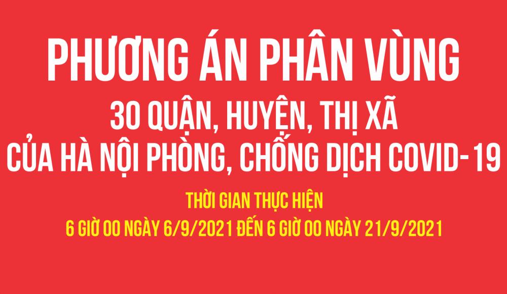 Phương án phân vùng 30 quận, huyện, thị xã của  thành phố Hà Nội phòng, chống dịch Covid-19