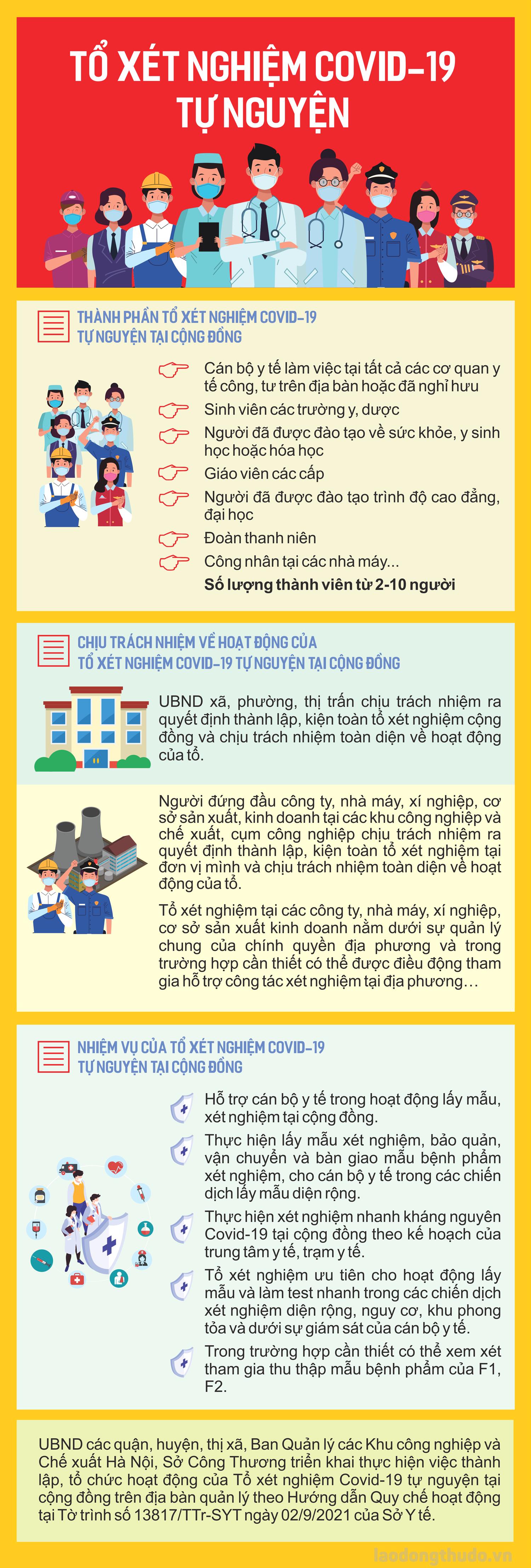 Infographic: Thành lập thí điểm tổ xét nghiệm Covid-19 tự nguyện