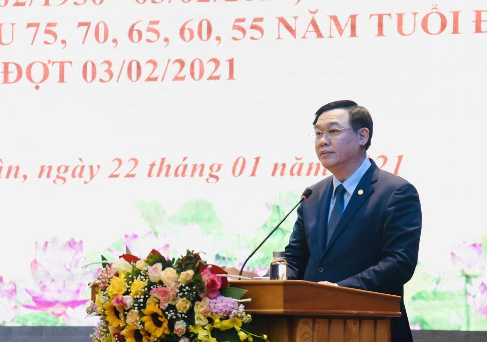 Bí thư Thành ủy Hà Nội Vương Đình Huệ phát biểu tại lễ