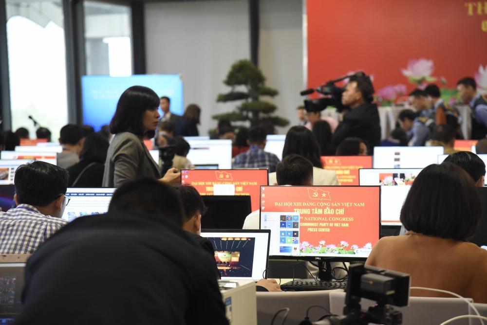 Trung tâm báo chí Đại hội XIII của Đảng được trang bị toàn bộ máy tính mới nhằm đáp ứng tốt nhất cho công tác truyền thông về Đại hội.
